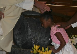Baptism of Amaiyah Russell at the Easter Vigil